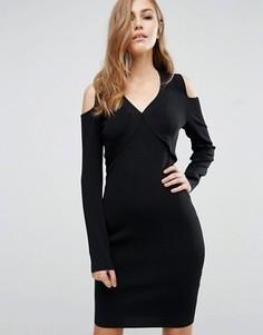 Облегающее платье с вырезами на плечах Supertrash Damara - Черный