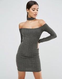 Блестящее облегающее платье мини с длинными рукавами и горловиной-чокер ASOS - Черный