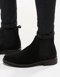 Черные замшевые ботинки челси на массивной подошве ASOS - Черный