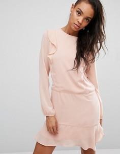 Платье с рюшами First & I - Розовый