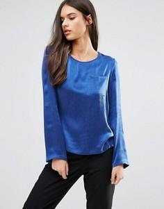 Блузка с длинными рукавами и карманом Sisley - Синий