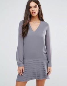 Платье мини с плиссированной юбкой Sisley - Серый