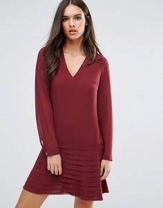 Платье мини с плиссированной юбкой Sisley - Красный