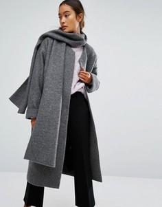 Пальто с шарфом Monki - Серый