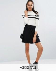 Короткая расклешенная юбка с эластичным поясом ASOS TALL - Черный