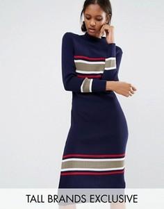 Платье-водолазка миди с контрастными полосками Daisy Street Tall - Мульти