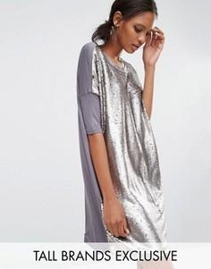 Свободное платье-футболка с отделкой пайетками Daisy Street Tall - Серебряный