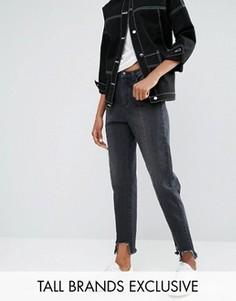 Джинсы в винтажном стиле со ступенчатым необработанным краем Daisy Street Tall - Черный