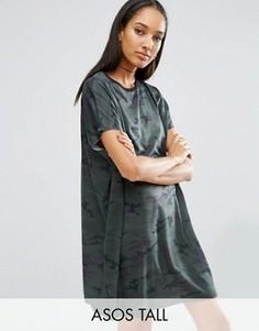 Свободное платье-футболка с камуфляжным принтом ASOS TALL - Мульти