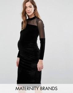 Бархатное облегающее платье для беременных с сеточкой Bluebelle Maternity - Черный