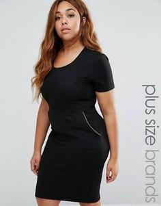 Платье-футляр с молниями Goddiva Plus - Черный