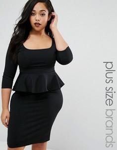 Платье-футляр с баской Goddiva Plus - Черный
