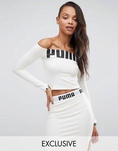 Топ с открытыми плечами и логотипом Puma эксклюзивно для ASOS - Серый