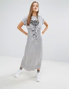 Платье миди с рюшами STYLENANDA - Серый