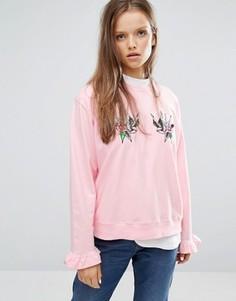 Свитшот с круглым вырезом, рукавами рюшами и блестящими нашивками STYLENANDA - Розовый
