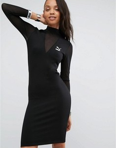 Облегающее платье с сеточкой Puma эксклюзивно для ASOS - Черный