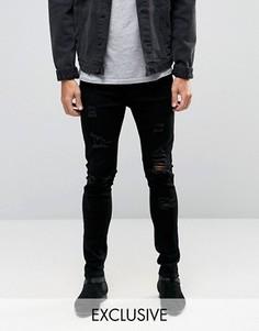 Облегающие рваные джинсы выбеленного черного цвета Liquor & Poker - Черный