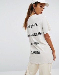 Oversize-футболка с принтом на спине Criminal Damage - Кремовый