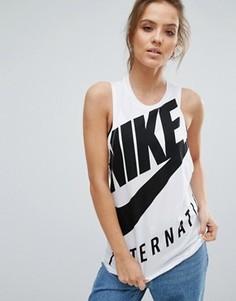 Белая майка Nike International - Белый