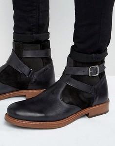 Черные кожаные ботинки челси на меховой подкладке ASOS - Черный