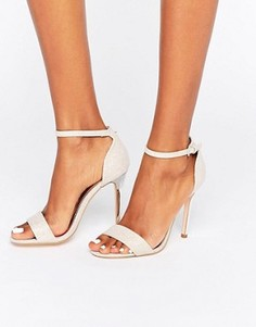 Розовые сандалии на каблуке с блестками True Decadence - Розовый