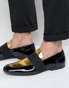Черно-золотистые лоферы в строгом стиле из лакированной кожи ASOS - Черный
