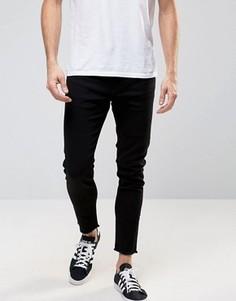 Зауженные джинсы с необработанными краями Only & Sons - Черный