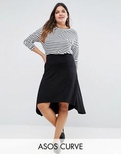 Расклешенная юбка миди с асимметричной кромкой ASOS CURVE - Черный