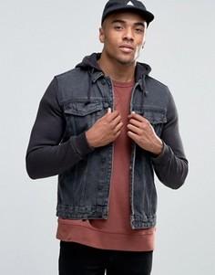 Выбеленная серая джинсовая куртка с капюшоном и трикотажными рукавами New Look - Серый