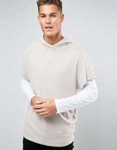 Бежевая футболка с капюшоном New Look - Stone