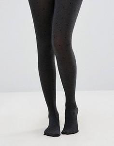 Серые меланжевые колготки в горошек New Look - Черный