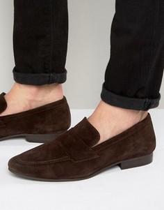 Темно-коричневые замшевые лоферы New Look - Коричневый