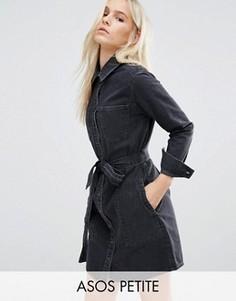 Черное джинсовое платье-рубашка с поясом ASOS PETITE - Черный