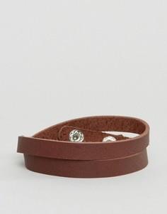 Коричневый кожаный браслет ASOS - Коричневый