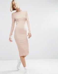 Облегающее платье миди в рубчик с длинными рукавами ASOS - Розовый