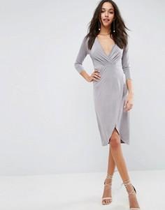 Платье миди с запахом ASOS - Серый