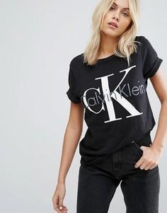 Пижамный топ в стиле ретро с круглым вырезом Calvin Klein - Черный