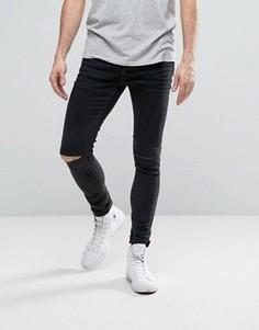Серые джинсы скинни с рваными коленями Selected Homme PLUS - Серый