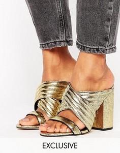 Золотистые кожаные сабо на каблуке Office Sierra - Золотой