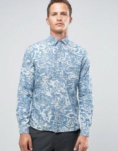 Рубашка классического кроя с длинными рукавами и принтом Celio - Синий