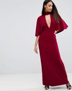 Платье макси с рукавами-кимоно и лентой вокруг шеи ASOS - Красный