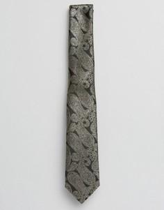 Золотистый галстук с узором пейсли ASOS - Черный