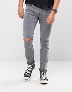 Джинсы скинни с прорехами на коленях Only & Sons - Серый