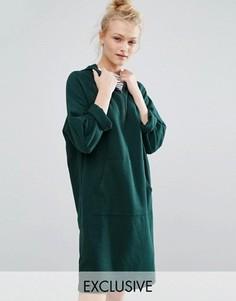 Трикотажное платье-худи с горловиной на молнии Monki - Зеленый