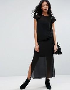 Полупрозрачное платье-футболка макси с разрезами по бокам ASOS - Черный