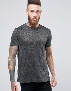 Черно-серебристая вязаная футболка ASOS Premium - Серебряный
