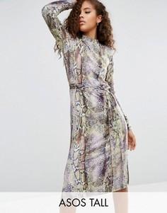 Цельнокройное платье со змеиным принтом и запахом ASOS TALL - Мульти