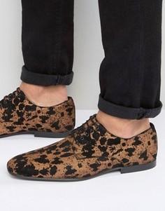 Замшевые туфли на шнуровке с леопардовым принтом ASOS - Золотой
