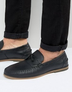 Черные кожаные лоферы с кисточками и бахромой ASOS - Черный