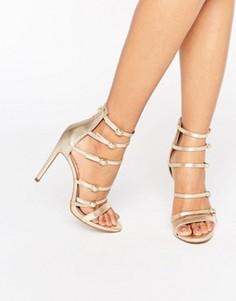 Кожаные сандалии на каблуке с ремешками на пряжках ALDO Nandra - Золотой